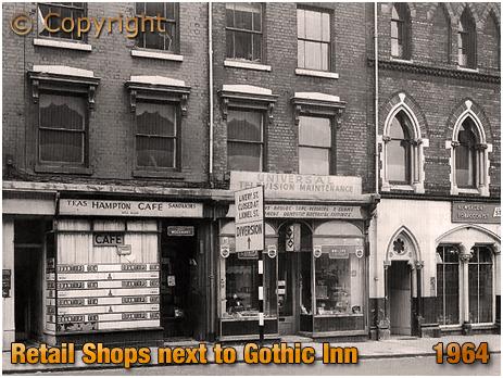 Birmingham : Adjacent Shops to the Gothic Inn on Great Hampton Street at Hockley [1961]