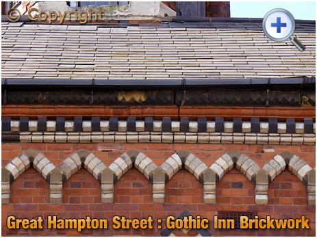 Birmingham : Brickwork of the Gothic Inn on Great Hampton Street at Hockley [1961]