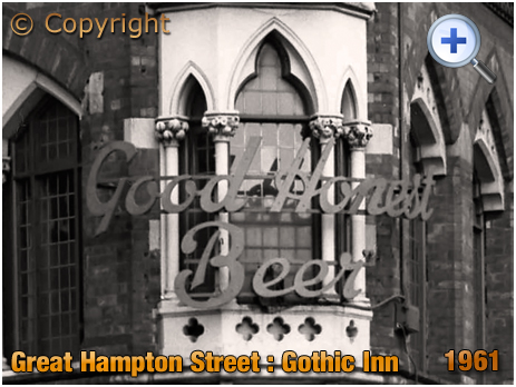 Birmingham : First Floor Window and Good Honest Beer at the Gothic Inn on Great Hampton Street at Hockley [1961]