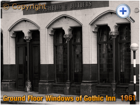 Birmingham : Ground Floor Windows of the Gothic Inn on Great Hampton Street at Hockley [1961]