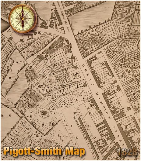 Birmingham : Map by Pigott-Smith showing Great Hampton Street at Hockley [1828]