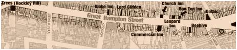 Birmingham : Map of Public-Houses in Great Hampton Street at Hockley