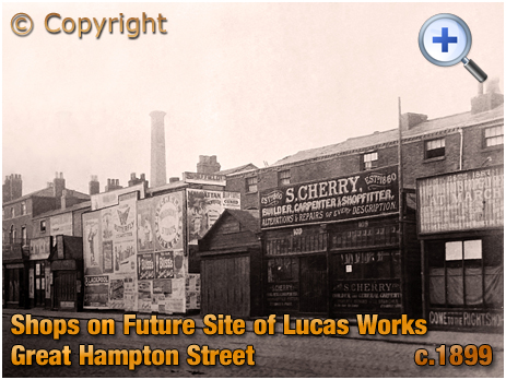 Birmingham : Shops on the Future Site of Lucas Factory in Great Hampton Street at Hockley [c.1899]