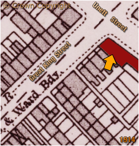 Map showing the location of the Pelican Inn on the corner of Great King Street and Unett Street at Hockley in Birmingham [1914]