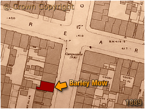 Birmingham : Map Extract showing the location of the Barley Mow on Great Russell Street at Hockley [1889]