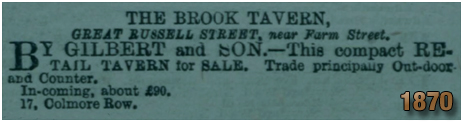 Birmingham : Advertisement for the sale of the Brook Tavern on Great Russell Street at Hockley [1870]