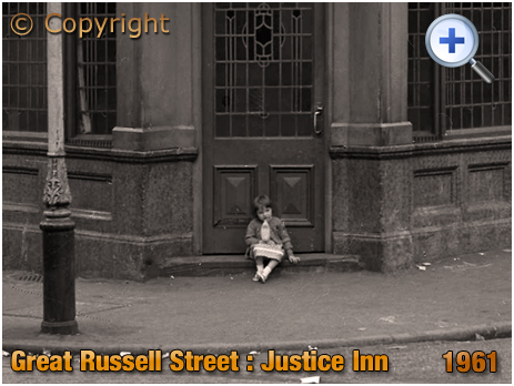 Birmingham : Young Girl sat on the step of the Justice Inn on the corner of Great Russell Street and Frankfort Street at Hockley [1961]