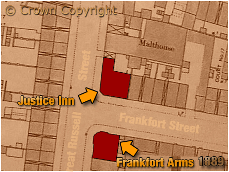 Birmingham : Map Extract showing the locations of the Justice Inn and Frankfort Arms on Great Russell Street at Hockley [1889]