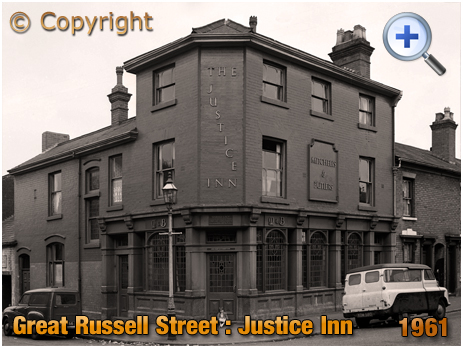 Birmingham : The Justice Inn on the corner of Great Russell Street and Frankfort Street at Hockley [1961]