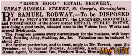 Sale of the Robin Hood Retail Brewery in Great Russell Street at Hockley in Birmingham [1854]