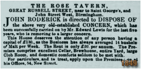 Birmingham : Sale of the Rose Tavern on Great Russell Street at Hockley [1849]