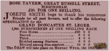 Birmingham : Prize Draw for the St. Leger at the Rose Tavern on Great Russell Street at Hockley [1850]
