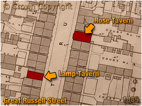 Birmingham : Map Extract showing the locations of the Rose Tavern and Lamp Tavern on Great Russell Street at Hockley [1889]