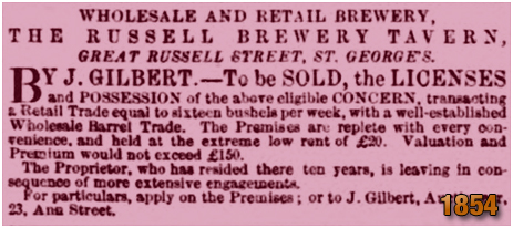 Birmingham : Advertisement for the sale of the Russell Brewery Tavern on Great Russell Street at Hockley [1854]