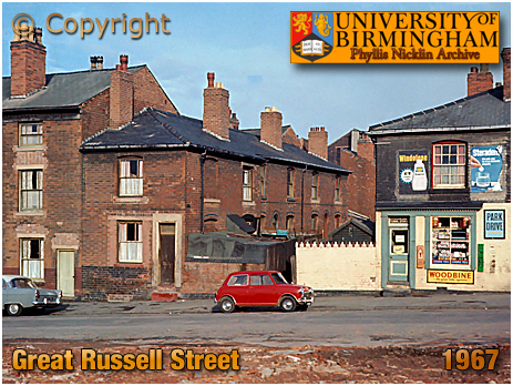 Birmingham : Great Russell Street Housing and Shop [March 1967 : Photo by Phyllis Nicklin © MLA West Midlands and University of Birmingham]