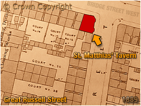 Birmingham : Map Extract showing the location of the St. Matthias' Tavern on Great Russell Street at Hockley [1889]
