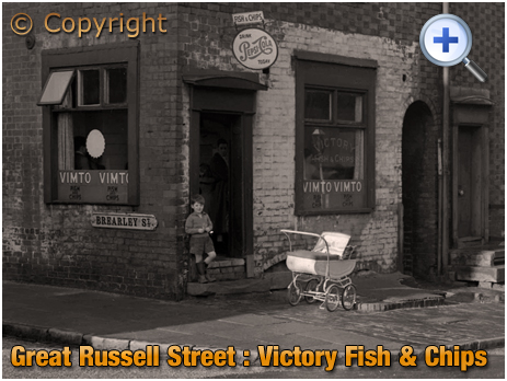 Birmingham : Chip Shop on the corner of Great Russell Street and Brearley Street at Hockley [1960]