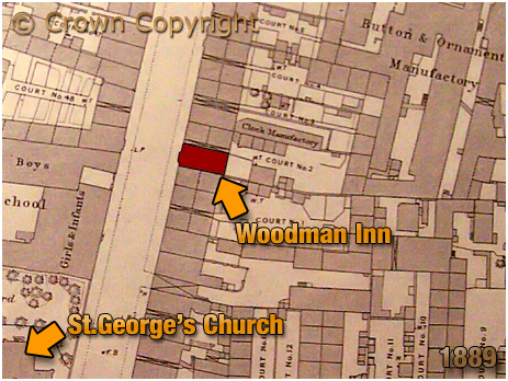Birmingham : Map Extract showing the location of the Woodman Inn on Great Russell Street at Hockley [1889]