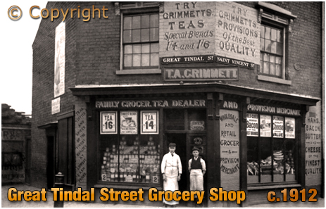 Birmingham : Grocery Shop on the corner of Great Tindal Street and Saint Vincent Street in Ladywood [c.1912]