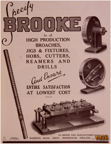 Birmingham : Advertisement for Brooke Tool Manufacturing Company of Greet [1926]]