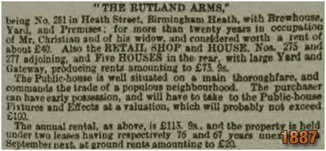 Birmingham : Sale of The Rutland Arms on Heath Street at Winson Green [1887]