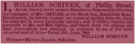 Birmingham : Public apology by William Scriven to John Ostins of The Stork Hotel on Heathfield Road at Handsworth [1869]