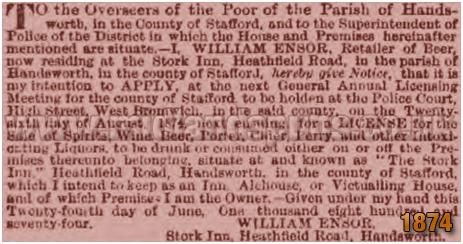 Birmingham : Licence Applicaton by William Ensor of The Stork Hotel on Heathfield Road at Handsworth [1874]