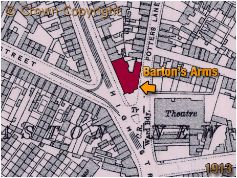 Birmingham : Map showing the Barton's Arms and Aston Hippodrome [1913]