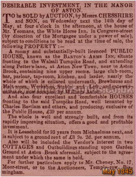 Birmingham : Advertisement for an auction of the Barton's Arms at Aston [May 1845]