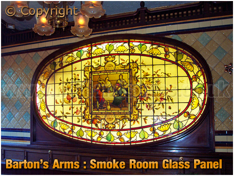 Birmingham : Smoke Room Glass Panel of the Barton's Arms at High Street Aston [2006]