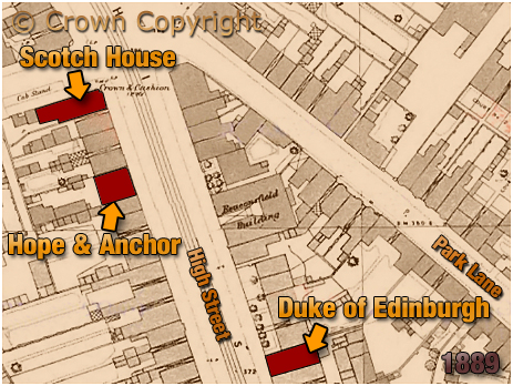 Birmingham : Map Showing the Hope and Anchor at High Street Aston [1889]