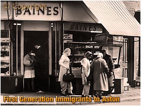Birmingham : Early Immigrants shopping at George Baines Ltd. on the corner of High Street Aston and Phillips Street [1960s]