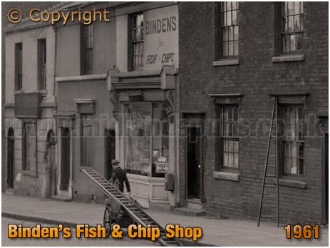 Birmingham : Binden's Fish and Chip Shop at No.91 High Street Aston [1961]