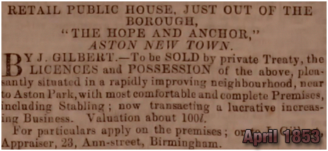 Birmingham : Sale of the Hope and Anchor at High Street Aston [April 1853]