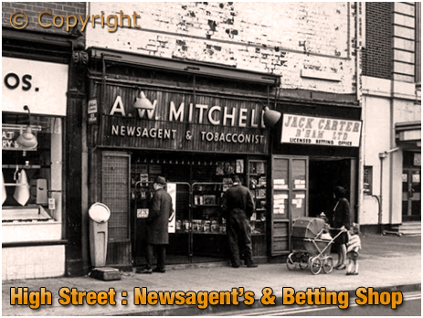 Birmingham : A. W. Mitchell's and Jack Carter's Betting Shop on High Street Aston
