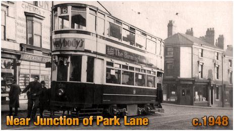 Birmingham : Tram on High Street Aston near the junction of Whitehead Road and Park Lane [c.1948]