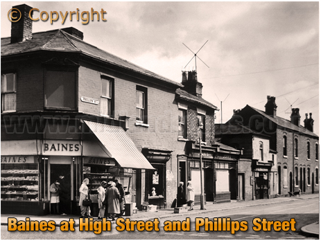 Birmingham : Bakery Outlet of George Baines Ltd. on the corner of High Street Aston and Phillips Street [1960s]