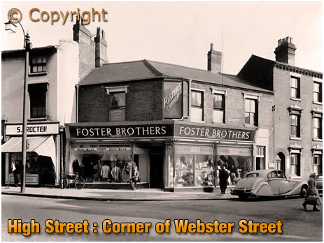 Birmingham : Junction of High Street Aston and Webster Street with Foster Brothers