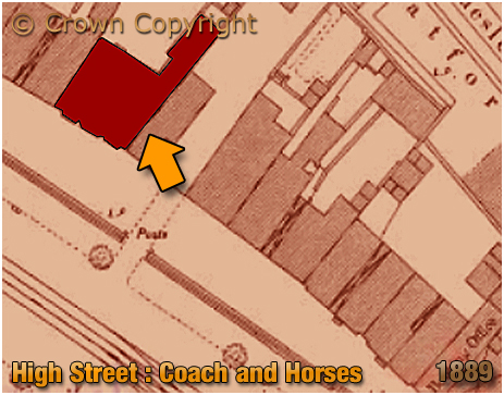 Birmingham : Plan showing the location of the Coach and Horses on High Street Bordesley [1889]