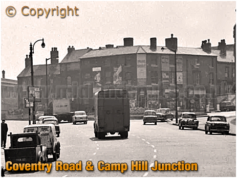 Birmingham : High Street Bordesley with junction of Coventry Road and Camp Hill [1961]