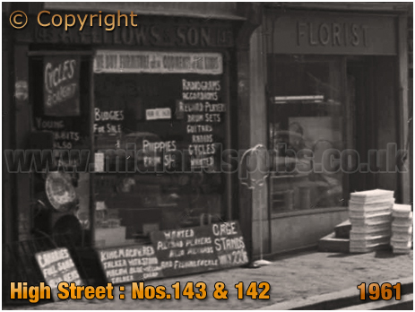 Birmingham : Second-Hand Shop and Florist on High Street Bordesley [1961]
