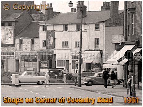 Birmingham : High Street Bordesley with shops on the corner of Coventry Road [1961]