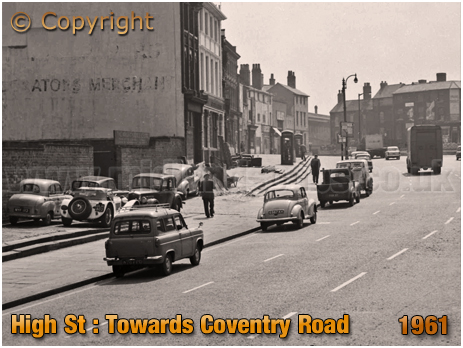 Birmingham : High Street Bordesley looking towards Coventry Road [1961]