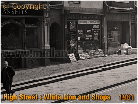 Birmingham : The White Lion and Neighbouring Shops on High Street Bordesley [1961]