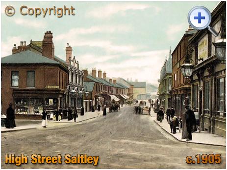Birmingham : Edwardian view of High Street Saltley from Crawford Street [c.1905]