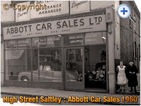 Birmingham : Showroom of Abbott Car Sales on High Street Saltley with residents of Corfield Terrace [1960]