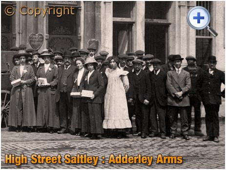 Birmingham : Distress Committee Members and Volunteers during the Metropolitan Works Strike outside the Adderley Arms on High Street Saltley [c.1913]