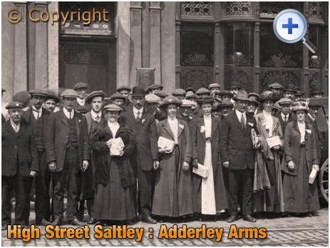 Birmingham : Volunteers collecting for a Strike Fund outside the Adderley Arms on High Street Saltley [c.1913]
