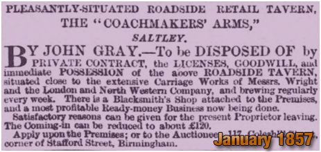 Birmingham : Sale of the Coachmakers' Arms on High Street Saltley [1857]