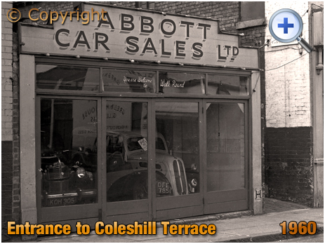 Birmingham : Entrance to Coleshill Terrace and Showroom of Abbott Car Sales on High Street Saltley [1960]